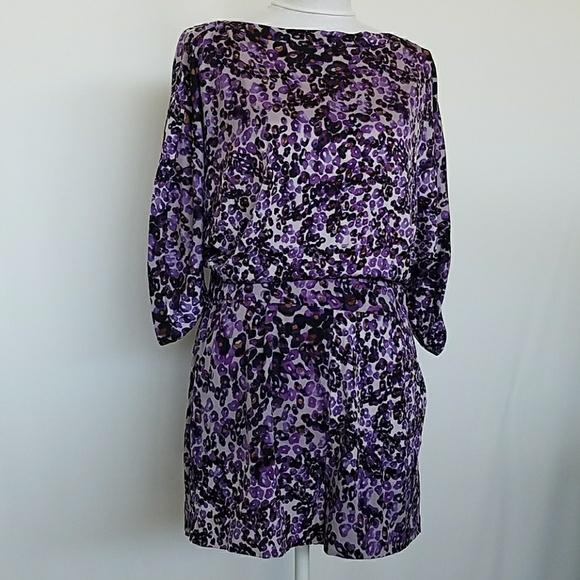 7ac2ebc8b75e DVF Soleil Leo Purple Silk Romper Open Back 10